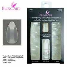 False Nails 360 Almond Long Transparent Acrylic Fake Nail Tips with glue