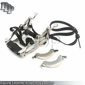 Equine Dental Speculum Horse Mouth Gag Stainless Steel Leather McPherson