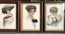 "Lot Of 3 Vintage Framed 1910 Harrison Fisher Art Prints of ""Fisher Girls"""