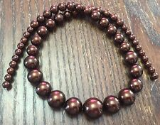 Vintage Japan Yummy Chocolate Brown Pearl Coated Graduated Round Glass Bead Lot