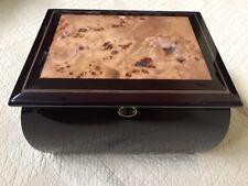 MAHOGANY  BURL WOOD MEMORIAL TREASURE CHEST JEWELRY BOX URN CREMATION