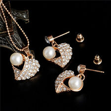 Fashion Gold Plated Wedding Bridal Jewelry Set Crystal Pearl Necklace Earrings
