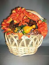 Thanksgiving/Fall Harvest Basket Centerpiece with Orange Flowers/Pinecones - NEW