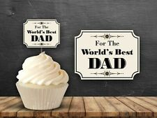 12 Worlds Best Dad Cupcake Toppers Party Cake Birthday Party Fathers Day