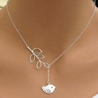 Vintage Women Silver Bird Branch Statement Bib Chain Pendant Necklace Jewelry