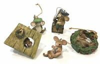 Lot of 5 David Winter Merry Mice Christmas Holiday Ornaments