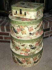 Pamela Gladding Nesting Hat Boxes in a Butterflies & Floral Pattern