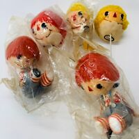 5 Vintage Raggedy Andy Christmas Ornaments Sitting Figurines & Heads Wire Japan