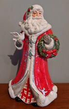 "Fitz and Floyd Tartan Santa Figurine Figure w/ Dove & Wreath Christmas 14"" Tall"