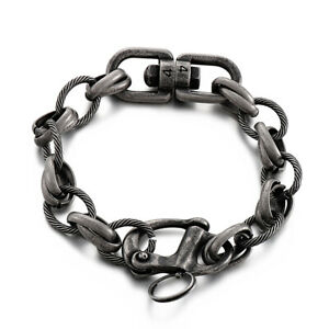 15mm 26cm Heavy Mens Bracelet Circle Link Oval Rolo Chain Stainless Steel Bangle