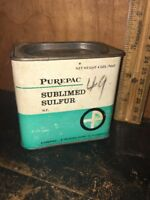 Vintage Purepac Sublimed Sulfur Laxative Tin Can