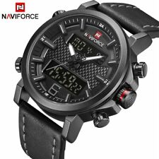 NAVIFORCE Men's Fashion Sport Leather Waterproof Date LED Analog Quartz Watches