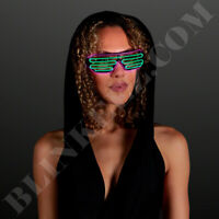 PINK GREEN EL WIRE Neon LED Festival Light Up Glow Sunglasses Glasses Rave Party