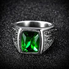 Men's Green Square Emerald Silver Stainless Steel Signet Engagement Wedding Ring