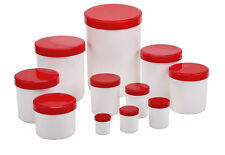 Salbenkruken, Kunststoffdosen, Salbendosen, Cremedosen m. rotem Deckel, leer