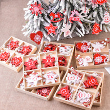 10pcs Christmas Wooden Decorations For tree hanging Ornaments Home Xmas kid Gift