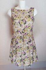 GLAMOROUS Beige Purple Floral sleeveless Crew neck Mini pleated Skater Dress  14