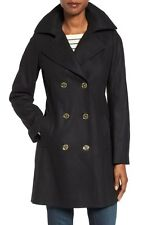 Michael Kors Black Long Wool Peacoat 6 fit 4 S Gold Buttons Zip Pocket Worn Once