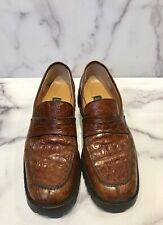 BARNEYS New York Brown Crocodile Men's Loafers Shoes