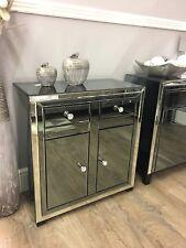 Arctic Noir Smoked Glass Mirror Trim 2 Drawer 2 Door Cabinet Sideboard Cupboard