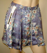 PENCEY Light Purple Floral/Polka Dot Print Short Pleated/Flared Silk Skirt (2)
