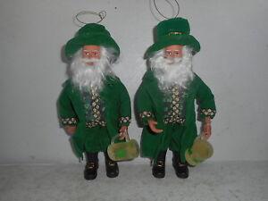 Group of (2) Santa's Workshop Irish Santa Figurines