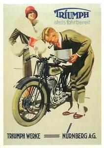 Postcard Transportation Road Motorcycles Scooter triumph werke nurnberg woman