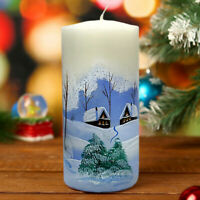 Unscented Pillar Candle with Winter Holidays Scene,Handpainted,Russian,CHRISTMAS