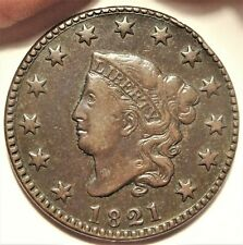 1821 Coronet Head Large Cent Choice Very Fine Key Date Early Copper 1c Coin