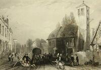 J.SHURY(19.Jh.), Straßenszene in Singhofen im Taunus, um 1850, Stahlstich