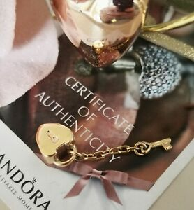 AUTHENTIC 14K GOLD PANDORA HEART LOCK AND KEY TO MY HEART CHARM 585 ALE 750341