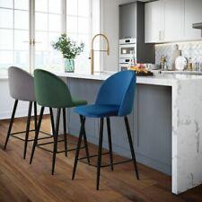Modern 2 pcs GREY GREEN BLUE Bar Stools High Chairs Velvet Fabric Metal Legs NEW