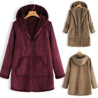 Ladies Fur Lining Coat Womens Winter Warm Thick Long Jacket Hooded Parka LQ