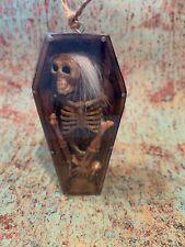 Creepy Skeleton Coffin Ornament Ooak Halloween Macabre