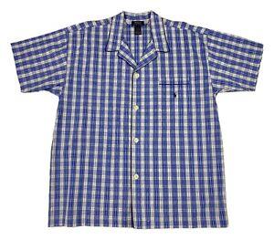 Polo Ralph Lauren Sleep Shirt Men's Size L Blue White Plaid Pajama Lounge Top SS