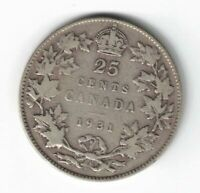 CANADA 1931 TWENTY FIVE CENTS QUARTER KING GEORGE V .800 SILVER COIN