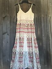 Free Spirit Boho Hippie People Crocheted  Lace Inlay Maxi Dress L NWT