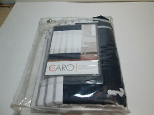 "Caro Home Shower Curtain 72""x72""  Navy, Silver and White Horizontal Stripe"