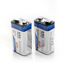 2x EBL 600mAh Li-ion 9V Batteries 9 Volt 6F22 Lithium-ion Rechargeable Battery