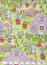 Baby Easter Bunny Rabbit Chick Eggs basket tulips scene quilt sew Fabric 1 yd