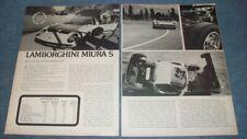 "1970 Lamborghini Miura S Vintage Road Test Info Article ""An Exercise in Auto Art"