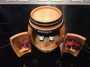 Vintage Mini Wooden Bar Barrel Ornament From Portugal Glasses & Bottles Home Bar