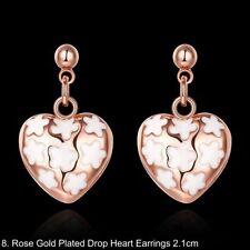 Heart Rose Gold Plated Hoop Costume Earrings