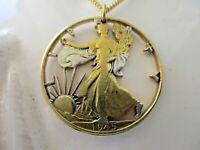 Silber Anhänger Lady Liberty Halben Dollar Geld Clip USA Silber Vergoldet 1945
