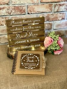 Wedding guest book & Sign personalised rustic mini pallet sign Photo Booth
