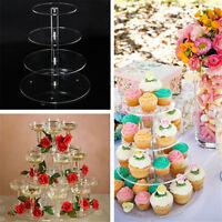 Cake Stand 3/4 Tier Acrylic Round  Birthday Wedding Party Cupcake Tower Display