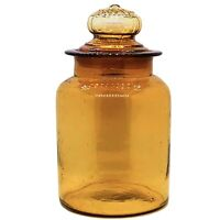 """Vintage MCM Hand Blown Honey Amber Apothecary Jar~Daisy Ground Lid 12""""H 6""""W"""