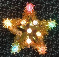 """Vintage 8"""" Yule Glo 21 Light Star Christmas Tree Star Topper Original Box Blinks"""