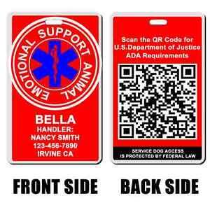 Service Dog emotional support animal red Badge Dog custom info dog cat esa