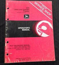 Genuine John Deere 420 Lawn Tractor Operators Manual After Serial #285,000 Nice